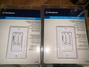 2 X Westinghouse 7787300 Universal ceiling fan & Light wall control White New