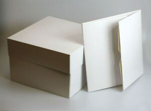 """White cake box WITH lids ALL SIZES 8"""" to 18"""" wedding party cupcake boxes party"""