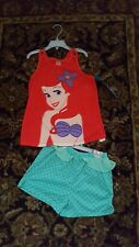 DISNEY Store SLEEP SET for Girls ARIEL 2 Piece PJ PAJAMAS Shorts Choose 7/8 NWT
