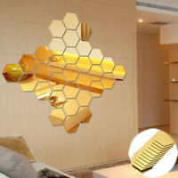 Wall Decal Hexagon Removable 12Pcs DIY Art Stickers Plastic Mirror Decor Home 3D
