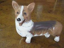 "PLEET POTTERY CORGI DOG BROWN & WHITE DOG FIGURINE, SIGNED BY PLEET, 5 1/2"" LONG"