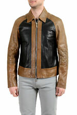 Dsquared2 Men's 100% Leather Multi-Color Full Zip Bomber Jacket US S IT 48