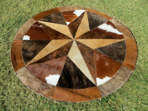 BIG  Star Cowhide Rug Cow Hide Skin Carpet Leather Round patchwork S94 area 40""