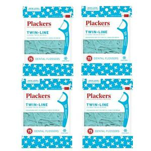 Plackers Twin-Line Dental Flossers 4 Pack 300 Total Cool Mint Floss
