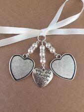 Bridal Bouquet Double Heart Photo Frame Charm Wedding With Heart Swarovski Beads