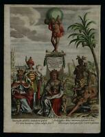 Allegorical Continents Frontispiece Universal Geography 1711 Cluverius print
