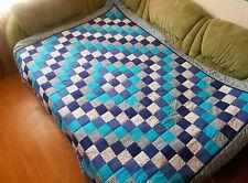 Quilted blanket. Patchwork bedspread. Handmade blanket. Blue blanket. Sea waves