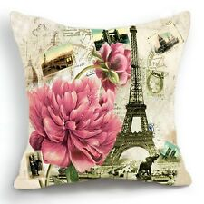 Retro Vintage Paris Effiel Tower Pink Flower Home Pillow Case Cushion Cover 18''