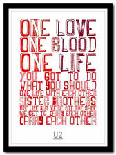 More details for u2 - one - song lyric poster typography art print - 4 sizes
