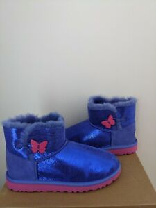 UGG Australia Kids Mini Bailey Button Lizard Boots  Size 6 NEW NIB