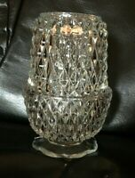 Indiana Glass Fairy Lamp Diamond Point Clear Angel Light Vintage Candle Holder