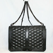 REBECCA MINKOFF Qilted Leather Turnlock Flap Crossbody Shoulder Bag Black