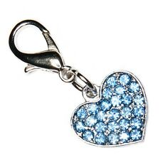Blue Crystal Clip On Heart Charm Gift 25% To Association of NHS Charities