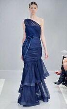 Monique Lhuillier BRIDESMAIDS One Shoulder Trumpet Gown Size 10 Prom Dress Blue