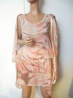 NWT Gold Hawk UK:10/12 Coral Silk Watercolour Print Dress Floaty Summer Tiered