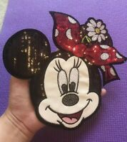 "BIG Disney mickey mouse Cartoon Sequined embroidery patch SEW on NEW 8""x8"""