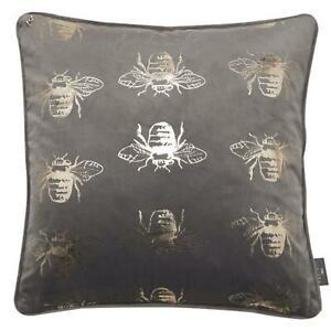 Juniper Jasper Bee Foil Pattern Pillow Grey Manchester Bee Scatter Cushion