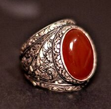 Sterling silver men ring, steel pen craft handmade, red-agate natural stone