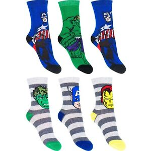 BOYS 3 PACK AVENGERS SOCKS 3 PAIRS 3 SIZES 4 DESIGNS HULK IRONMAN NEW
