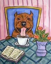 Pit bull terrier dog art Print poster gift modern folk coffee art 13x19