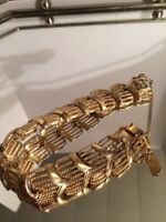 Vintage Gold Tone Clasp Bracelet With Safety Chain Signed Monet