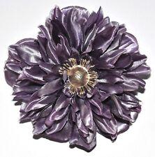 "4.5"" Purple Satin Gerbera Daisy Silk Flower Hair Clip Wedding Bridal"