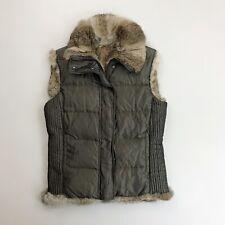 BURBERRY Down Puffer Vest XS Reversible Rabbit Fur Zip Snap Olive Green Brown