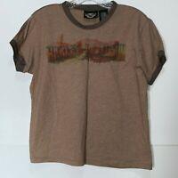 Harley Davidson Top XL Women's Tee Short Sleeve Top Crew Neck T Shirt Brown