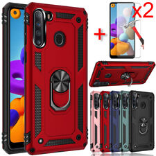 For Samsung Galaxy A21 Case Ring Holder Stand Phone Cover Glass Screen Protector