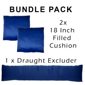 BUNDLE: 2 x Faux Silk Filled Cushions + 1 x Draught Excluder in Midnight Blue UK