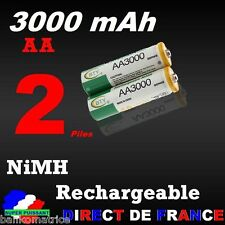 2 Piles rechargeables AA Ni-MH 3000 mAh 1.2V LR06 Mignon DIRECT de France
