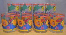 Stotter Glasses Set of 8 Acrylic Plastic Tropical Fish Beach Summer Vintage