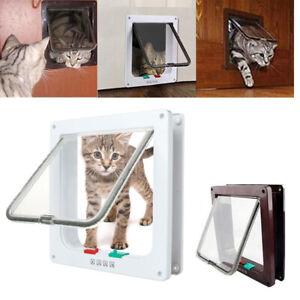 4 Way Safe Gate Flap Door Pet Door S/M/L New Magnetic for Pet Cat Puppy Dog