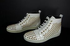 RODNEY P. HUNT HIGH TOP SPIKE MEN SNEAKER ,WHITE  & GOLD  STUDS EU 46  US 13