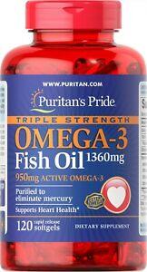 Puritan's Pride Triple Strength Omega-3 Fish Oil 1360 mg 120 Softgels