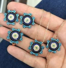 925 Sterling Silver Handmade Gemstone Turkish Turquoise Ring Earring Set