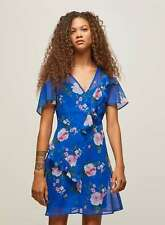 Ladies BNWOT Miss Selfridge Petite Blue Floral Print Dress Size 6 (AM)