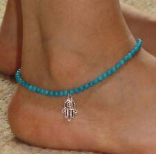 New Hamsa Hand of Fatima Imitation Turquoise Bead Anklet Ankle Bracelet Gift Hot