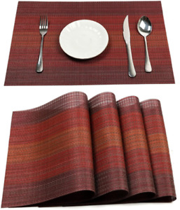 Pauwer Placemats Set of 6 for Dining Table Washable Woven Vinyl Placemat Non-Sli