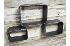 Set of 3 Urban Industrial Style Floating Box Wall Shelves Display Shelf Unit