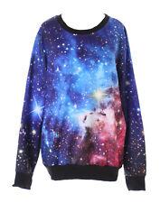 ty-ys-1018 Galaxy estrellas Sky UNIVERSO fantasía azul Jersey Sudadera Gótico
