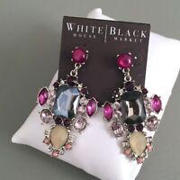 NWT White House-Black Market Purple-Blue-Tan GLAM Chandelier-Long Post Earrings