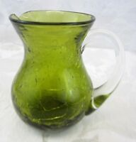 """Vintage Green Crackle Art Glass Pitcher 3.5"""" Clear Handle Hand Blown"""