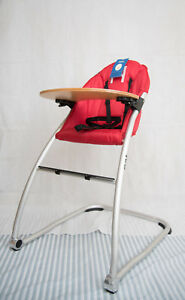 (out of stock) BabyHood High Chair Space Saving Easy Fold Wooden Timber Tray RED