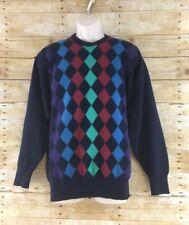 "Alan Paine Mens Large 44"" Argyle Diamond Navy Blue Lambswool Sweater UK"
