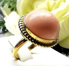 anello di corallo rosa naturale con gemma in argento 925 oro vintage da donna