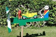 Car Cranking Man Wooden hand painted Whirligig with Pole HCC..46.......Cranking