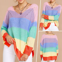 Women V Neck Sweater Jumper Casual Loose Long Sleeve Baggy Rainbow Knit Pullover