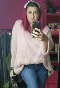 NEW COLOUR! CRUSH BLUSH SOFT SLOUCHY LADIES LOOSE CHUNKY KNIT JUMPER O/SIZE10-20