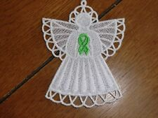 Embroidered Magnet - Christmas - Lymphoma Cancer Angel - Lime Green Ribbon